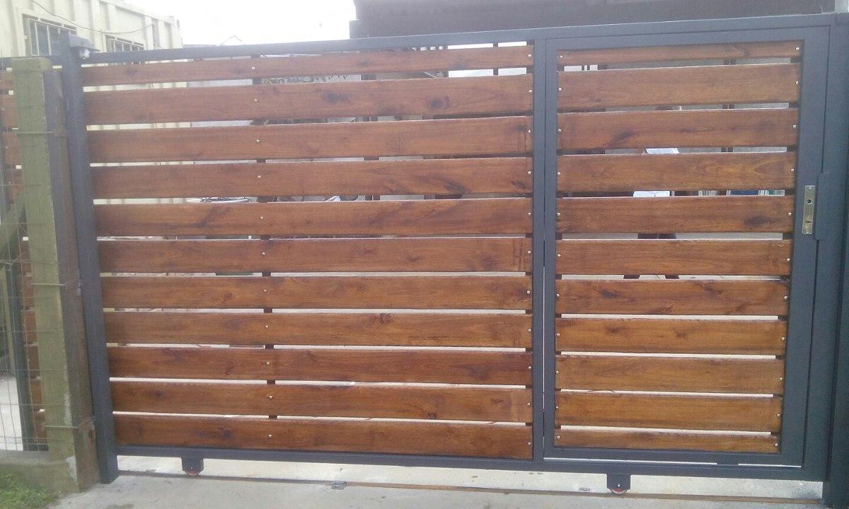 Porton corredizo y batientes en madera y hierro for Como hacer un porton de madera economico