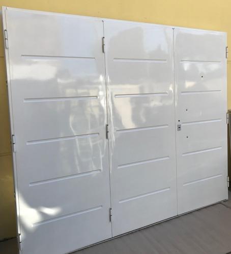 porton doble chapa inyectada  pintura horno blanco 240x200