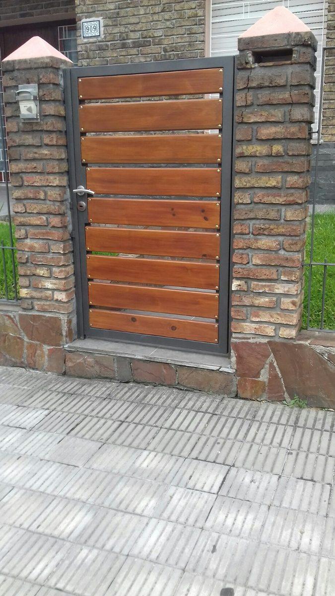 Porton hierro y madera 1 00 en mercado libre - Rejas para jardin ...