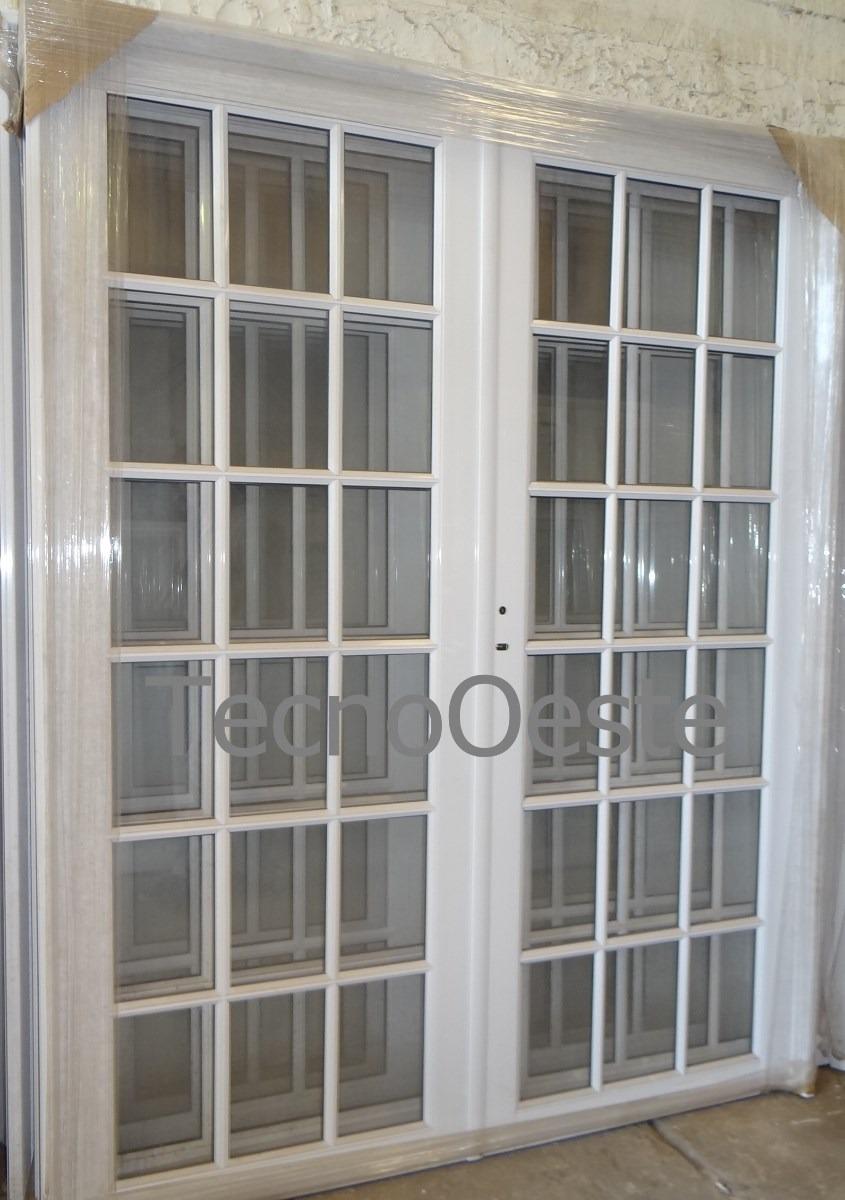 Porton Puerta Doble Aluminio Blanco Vidrio Repartido
