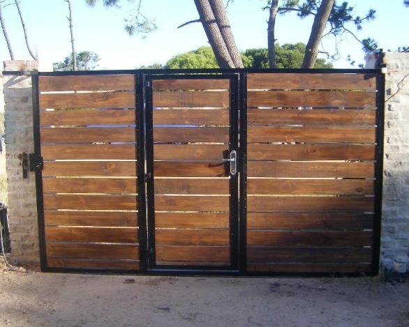 Portones corredizo basculante rejas hierro y madera for Rejas de madera