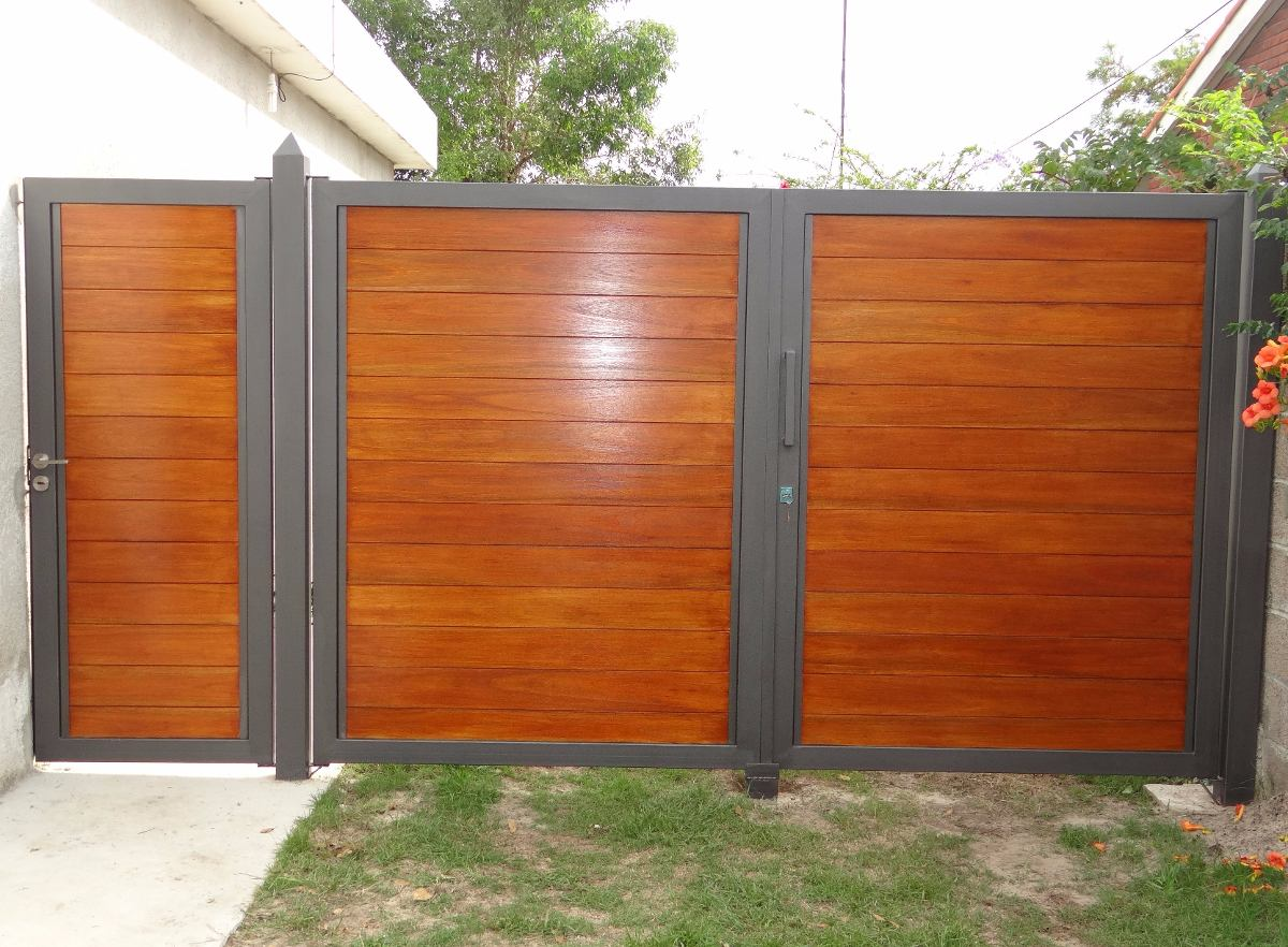 Portones corredizos batientes en mercado libre for Puertas de hierro y madera