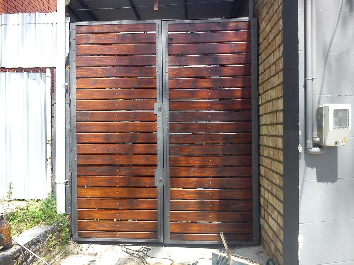 Portones en hierro y madera en mercado libre for Portones de hierro para garage
