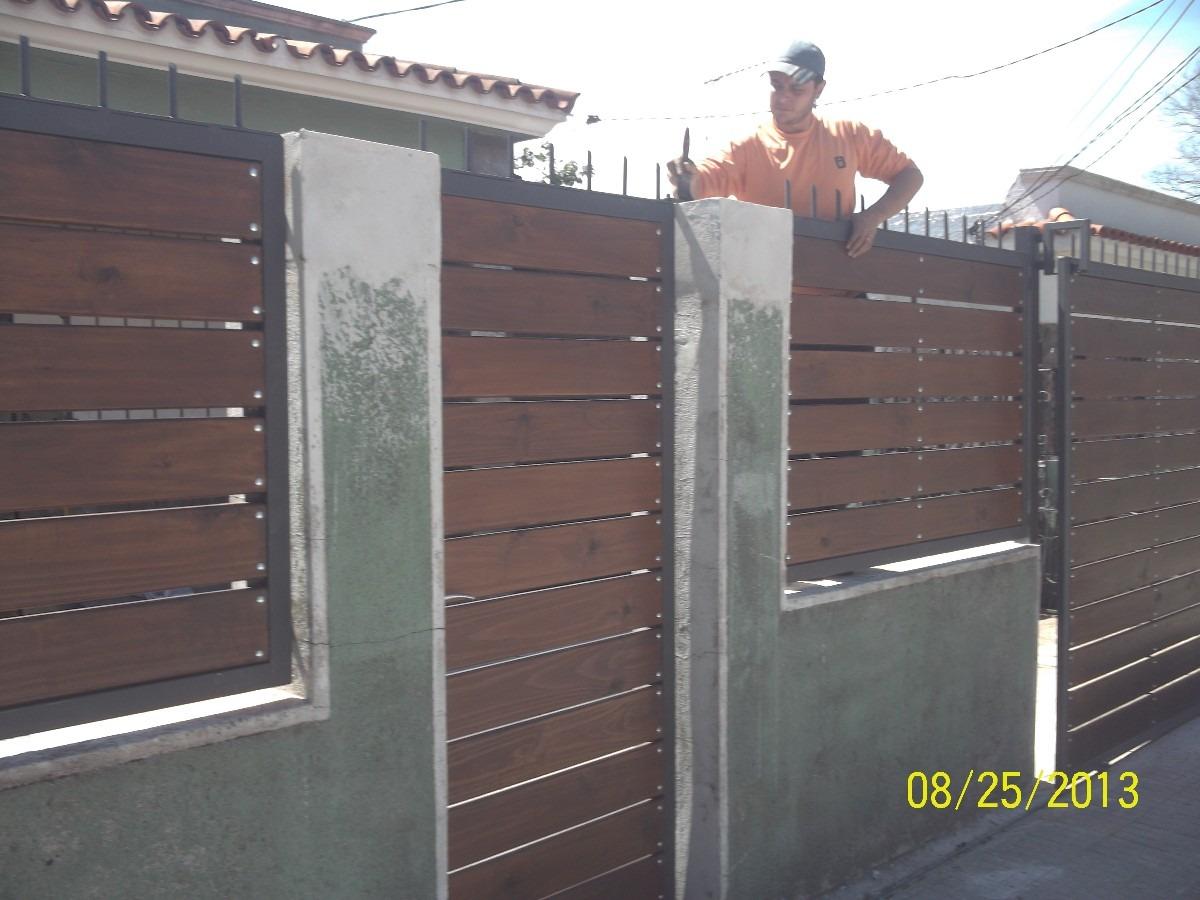 Portones hierro y madera en mercado libre for Portones de madera modernos