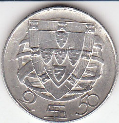 portugal, antigua moneda de plata 0,650 2,50 escudos 1.946