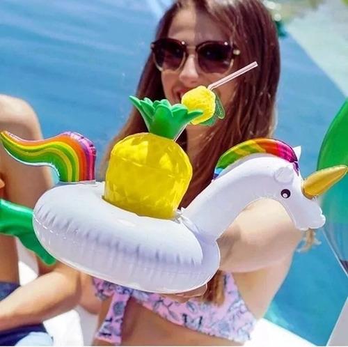 posa vaso inflable pileta bebida unicornio pato flamenco