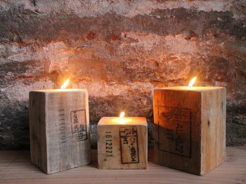 posa velas (3 unid.) madera reciclada pantano pallet