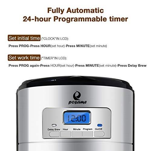 posame cafetera electrica programable digital 12 tazas
