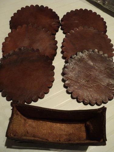posavasos cuero labrado 6 unidades con estuche de cuero
