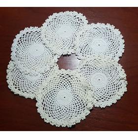 Posavasos O Carpetitas Tejidas A Crochet X6 Unidades - 15 Cm