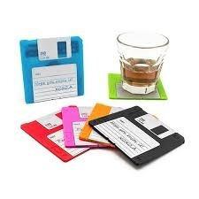 posavasos retro de diskette de silicona set 6 posavasos