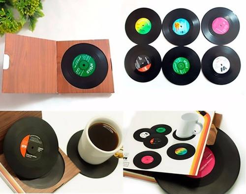 posavasos retro disco vinilo set 6 posa vasos