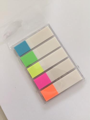 post it adesivo colorido 100 páginas transparente marcador