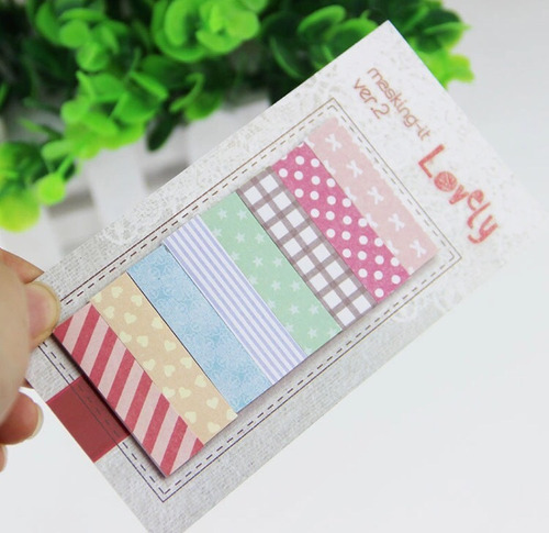 post it adesivo colorido listras lovely 160 folhas