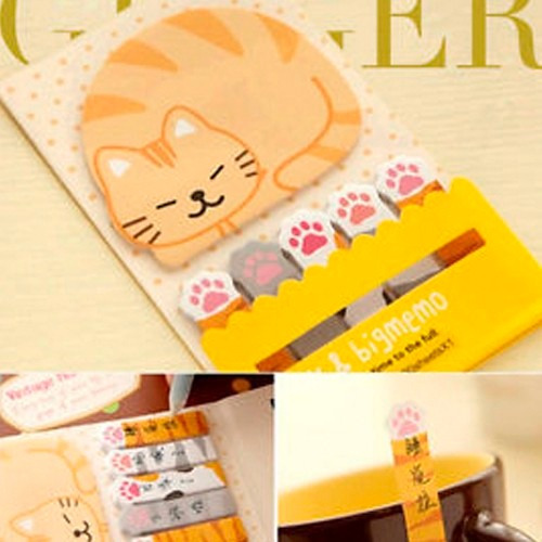 post it en forma de gatito, stickers gato, post it gato