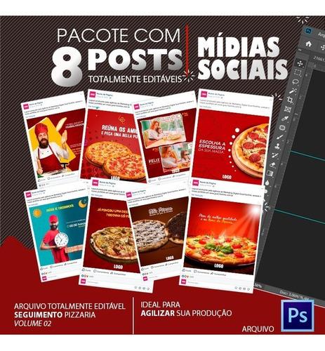 post para redes sociais editável - pizzaria -  vol. 01 e 02