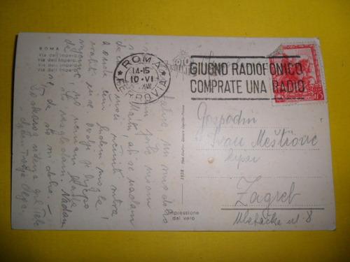 postal 1938 cesare capello milano roma ferrovia estampilla