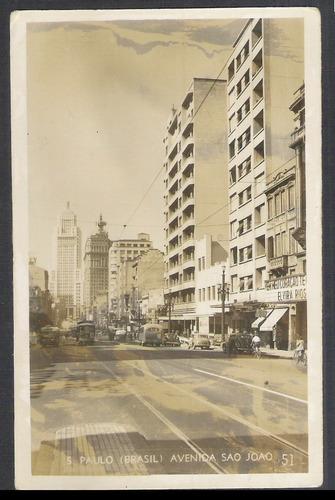 postal antigo, 1946, são paulo, avenida são joão. bonde