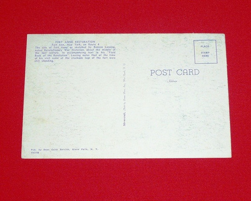 postal antigua fort anne new youk route 4 usa blanco y negro