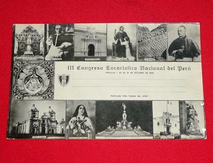 postal antigua iii congreso eucarístico trujillo 1943 b/n