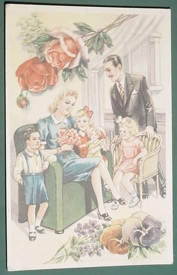 Postal Antigua Ilustracion Dibujos Familia Con Flores 70 63 En