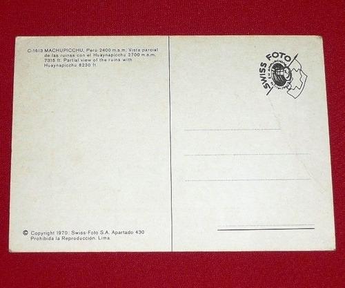 postal antigua machu picchu huayna picchu swiss foto 1970