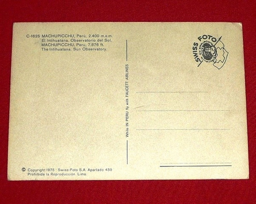 postal antigua machu picchu intihuatana observatori sol 1975