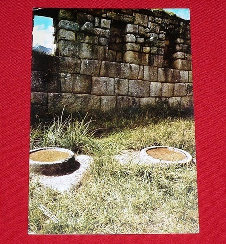 postal antigua machu picchu sala de morteros swiss foto 1977