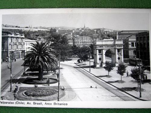 postal antigua valparaiso av brasil tranvia 1930