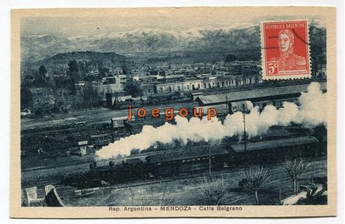 postal calle belgrano tren locomotora ferrocarril mendoza