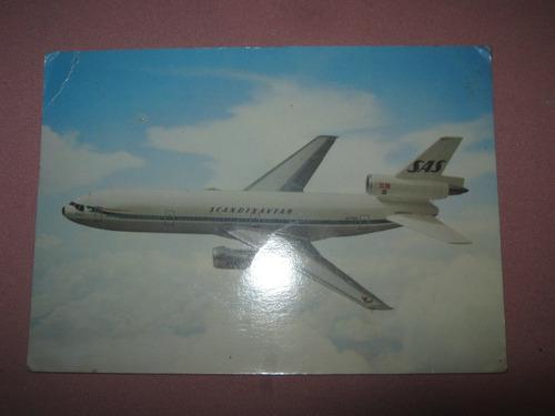 postal de aereolinea scandinavian sas sueca