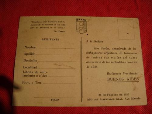 postal de evita 24 de febrero de 1950 antiguo(gran cambalach