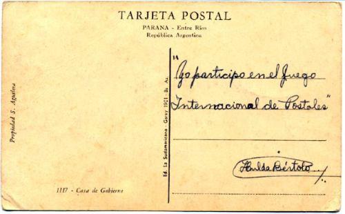 postal entre rios - parana - casa de gobierno