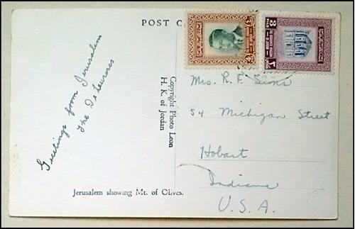 postal foto de jerusalem antigua con sellos