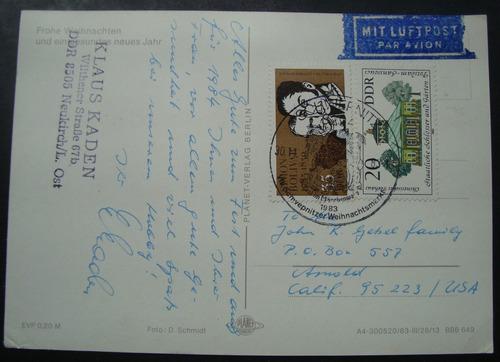 postal natal alemanha 2 selos 1983 ddr circulado p/ u s a