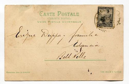 postal peuser costa con playa norte mar del plata 1904