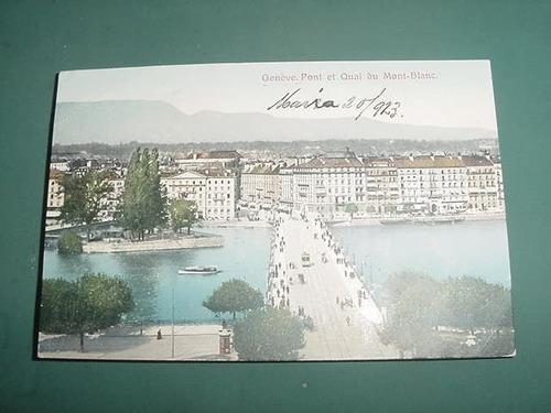 postal postcard italia genova 1923 pont et quai mont blanc