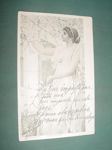 postal postcard romantica señorita fotograbado 1911