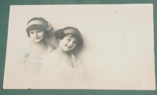postal postcards infantil niños 1914 dos niñas tipicos