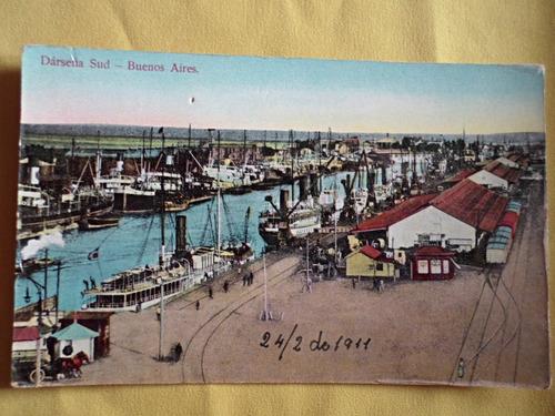postal puerto madero darsena sud / barcos tren año 1911