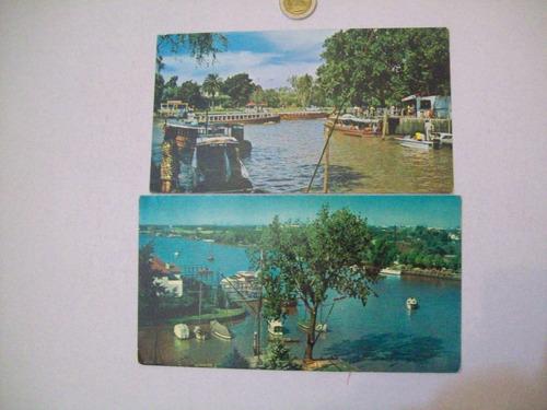 postal tigre lote x 2 barco recreos paseos