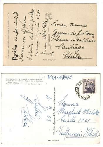 postales (2) basilica de san pedro - vaticano - 1933 y 1963