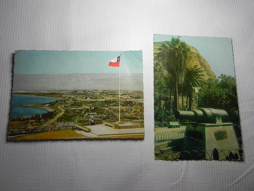 postales arica el morro y parque vicuña mackenna. años 60 (2