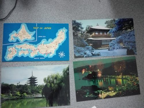 postales de japón + mapa + sobre contenedor