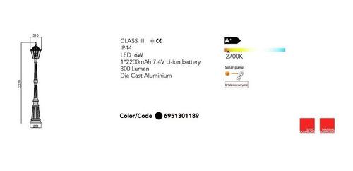 poste luminaria lampara farol luz led solar 227cm sin cables
