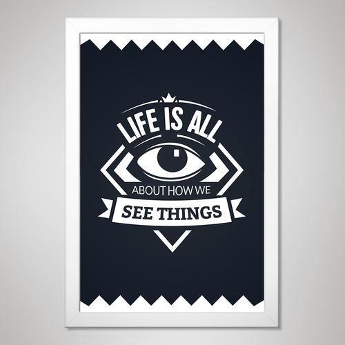 poster 23x33cm com moldura pôster quadro a4 - frases #2