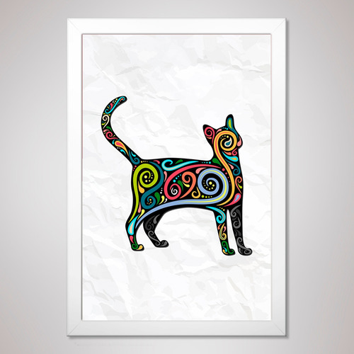 poster 23x33cm com moldura pôster quadro a4 - gato