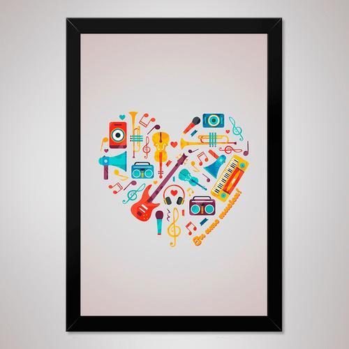 poster 23x33cm com moldura pôster quadro a4 - música