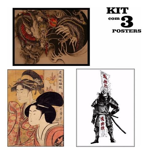 poster 65x100cm kit c/ 3 enfeite para casa oriental japones
