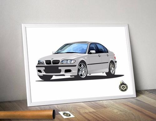 poster a3 automotivo bmw e46 facelift oem petrolhead studio
